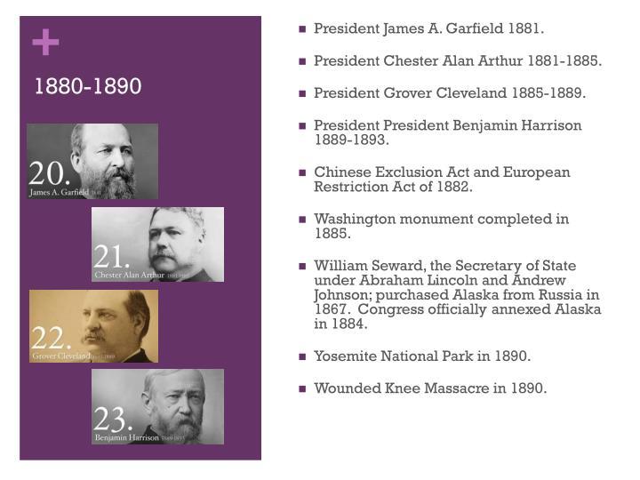 President James A. Garfield 1881.