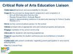 critical role of arts education liaison