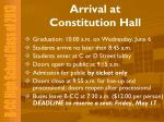 arrival at constitution hall