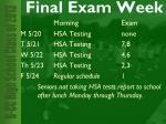 final exam week