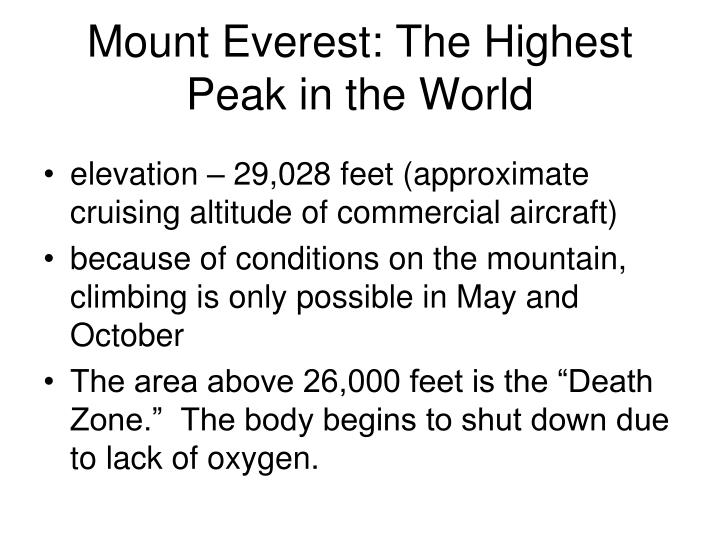 mount everest the highest peak in the world n.