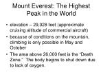 mount everest the highest peak in the world