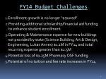 fy14 budget challenges