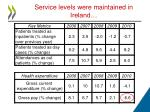 service levels were maintained in ireland
