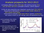 analysis prospects for 2012 2013