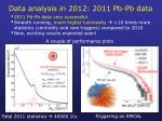 data analysis in 2012 2011 pb pb data