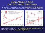data analysis in 2012 first 2011 pb pb results soon