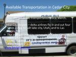 available transportation in cedar city