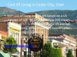 cost of living in cedar city utah