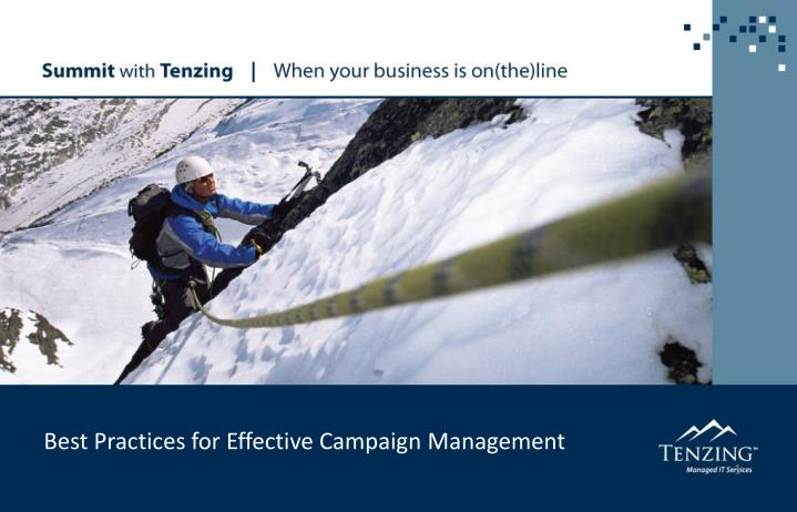 best practices for effective campaign management n.