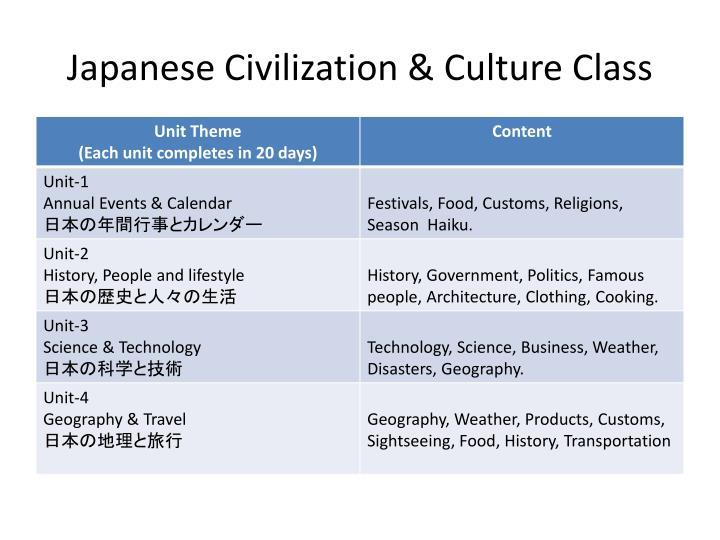 Japanese Civilization & Culture Class
