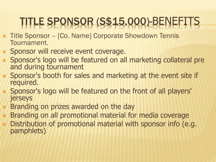 Ppt Corporate Showdown Tennis Tournament Sponsorship Proposal