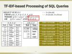 tf idf based processing of sql queries
