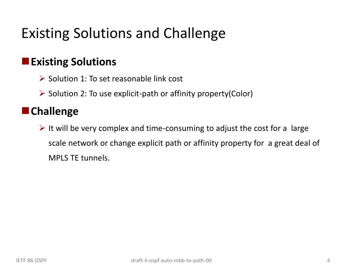 Existing Solutions and Challenge