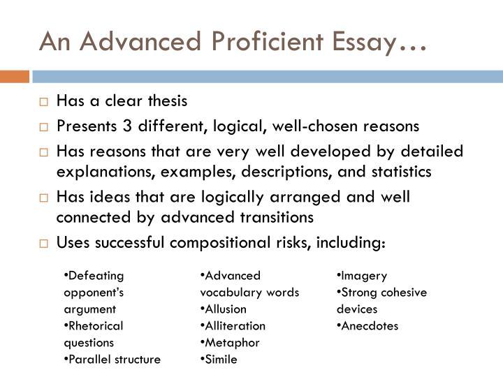 An Advanced Proficient Essay…