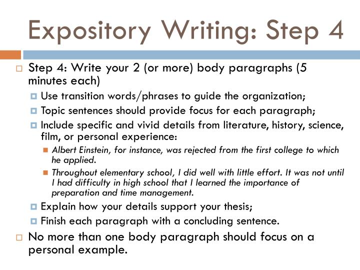 Expository Writing: Step 4