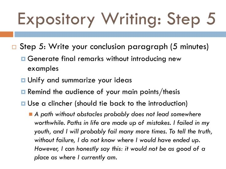 Expository Writing: Step 5