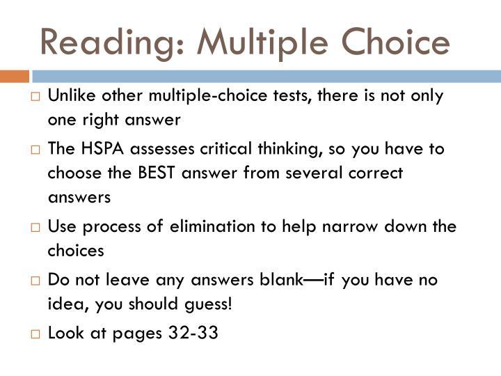 Reading: Multiple Choice