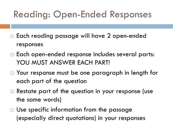 Reading: Open-Ended Responses