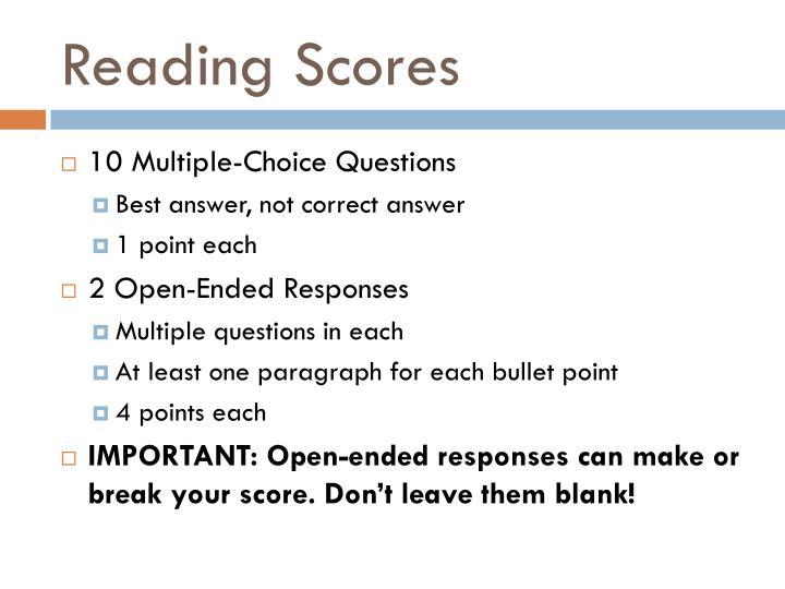 Reading Scores