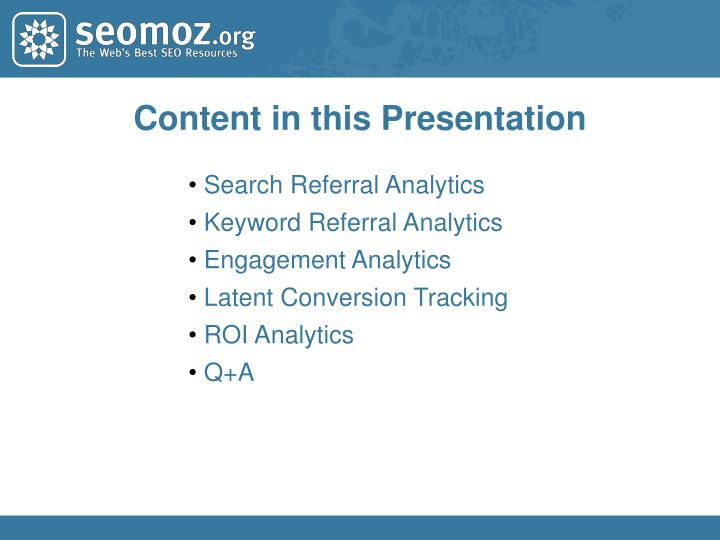Content in this Presentation