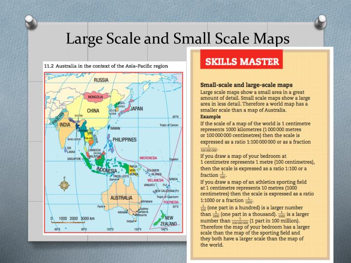small scale compared to large scale What is a large scale map update cancel a specific feature, like a building or town, will appear larger on a large scale map compared to a small scale map.