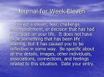 journal for week eleven