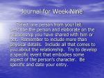 journal for week nine