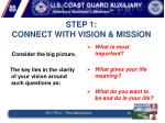 step 1 connect with vision mission