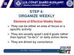 step 4 organize weekly