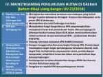 iv mainstreaming pengurusan hutan di daerah belum dikaji ulang dengan uu 23 2014
