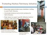 protecting haitian patrimony initiative