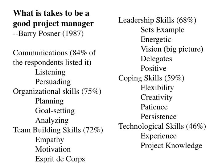 What is takes to be a good project manager