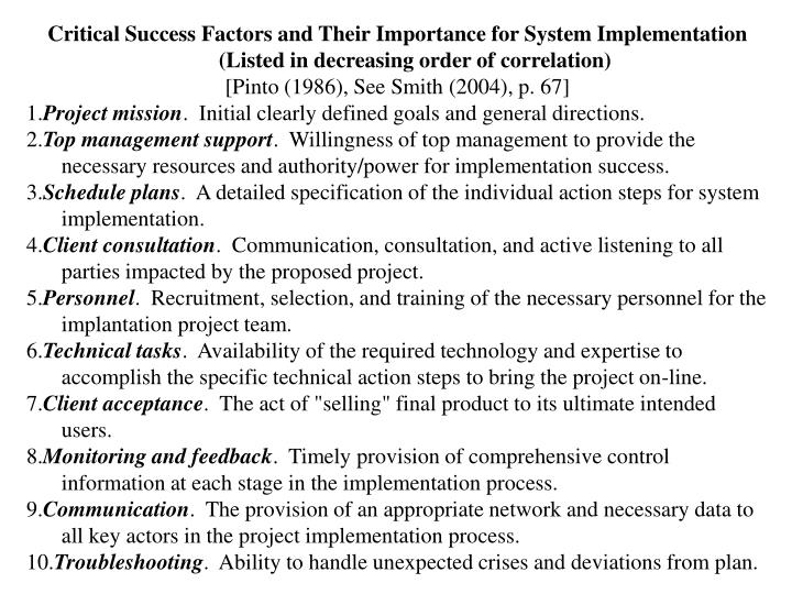 Critical Success Factors and Their Importance for System Implementation (Listed in decreasing order of correlation)
