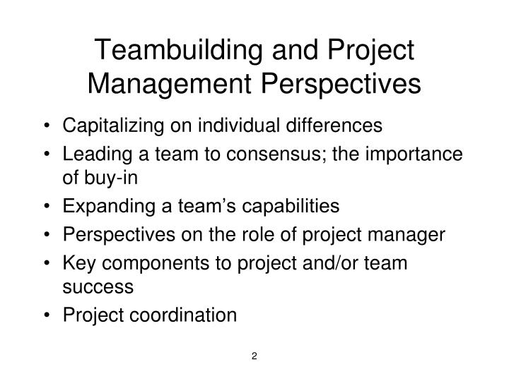 Teambuilding and project management perspectives