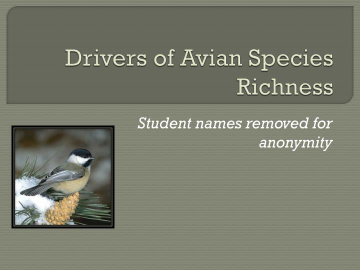 drivers of avian species richness n.