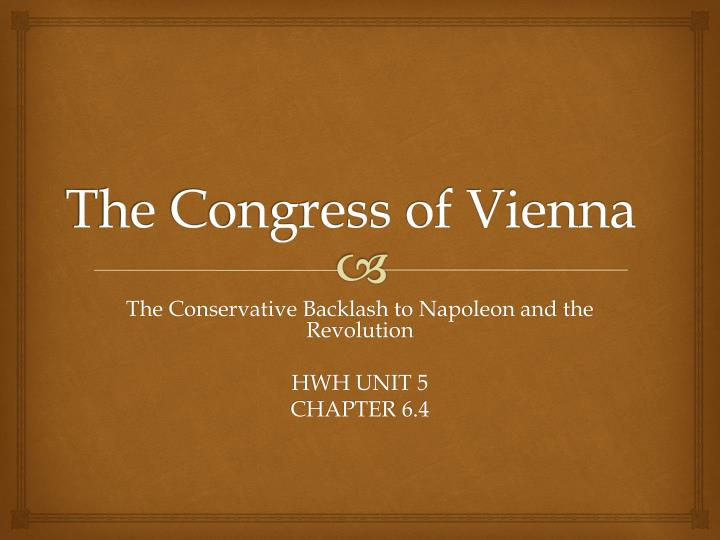 the congress of vienna n.