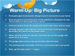 warm up big picture