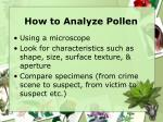 how to analyze pollen
