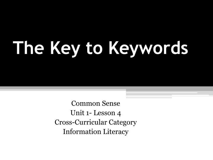 the key to keywords n.