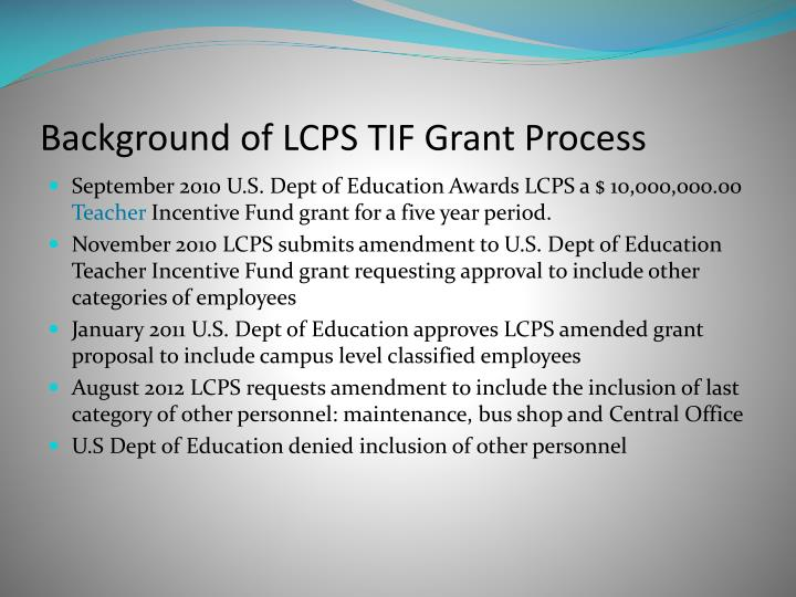 Background of lcps tif grant process