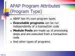 apap program attributes program type