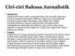 ciri ciri bahasa jurnalistik