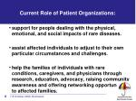 current role of patient organizations