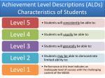 achievement level descriptions alds characteristics of students
