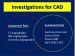 investigations for cad
