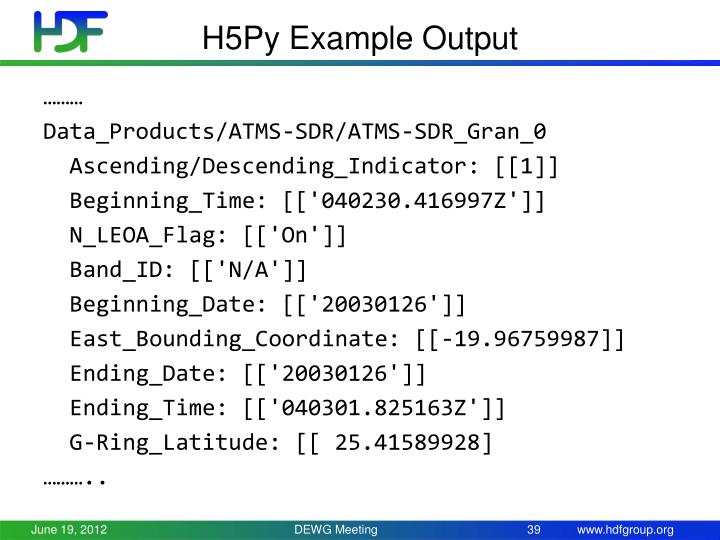 H5Py Example Output
