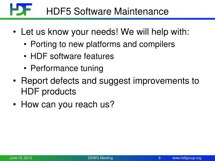 HDF5 Software Maintenance