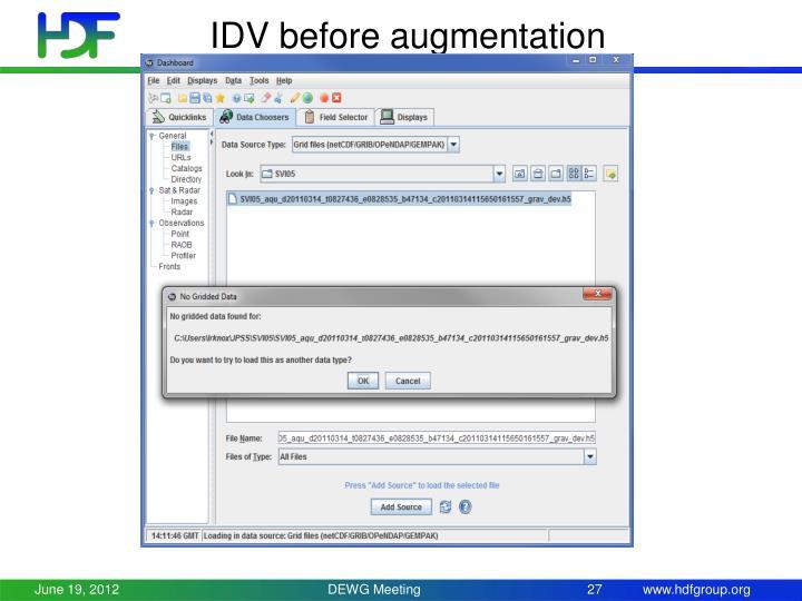 IDV before augmentation