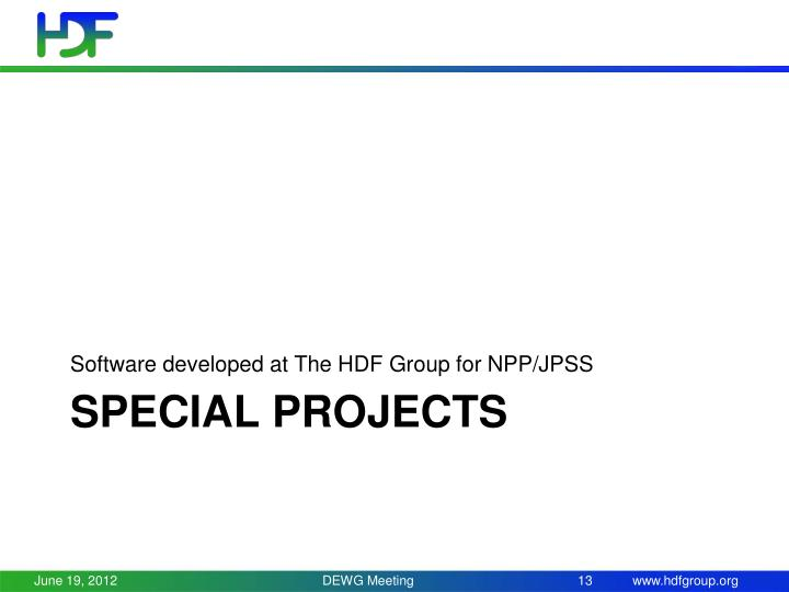 Software developed at The HDF Group for NPP/JPSS